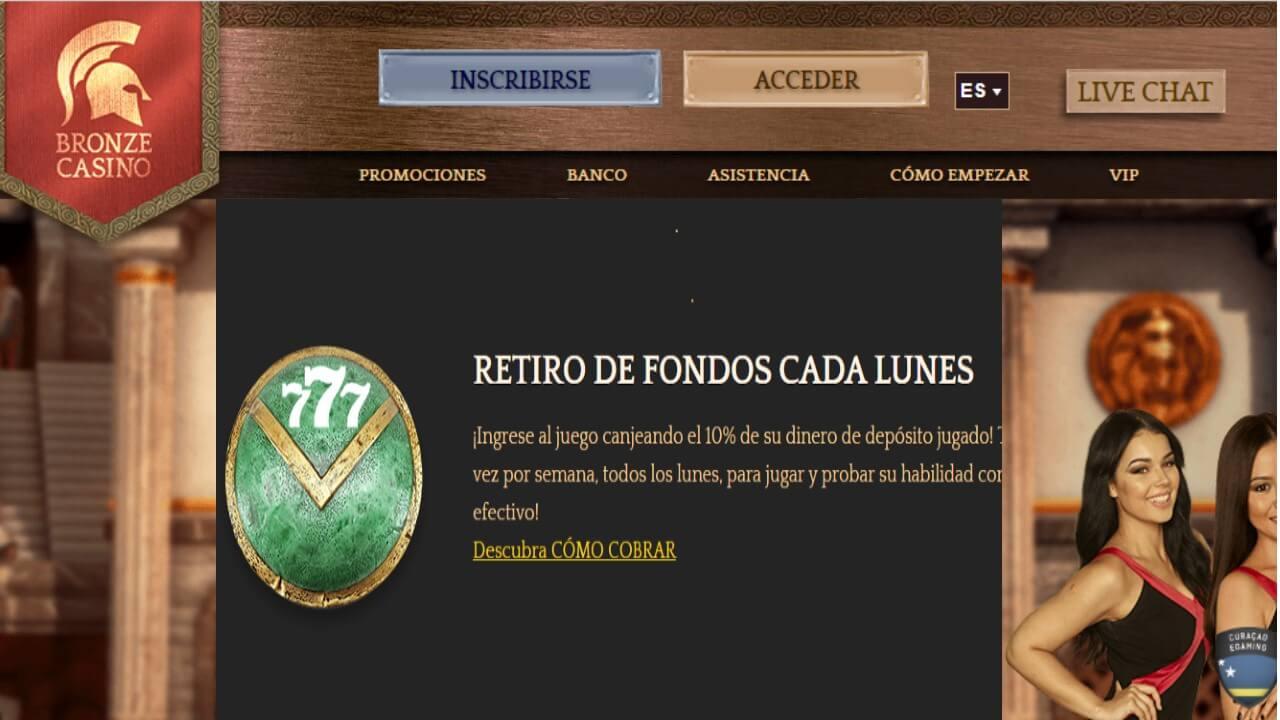 Lunes de reembolso de 10% sobre retiros Bronze Casino