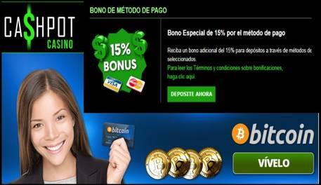 El casino Cashpot otorga hasta 15% por método de ingreso autorizado