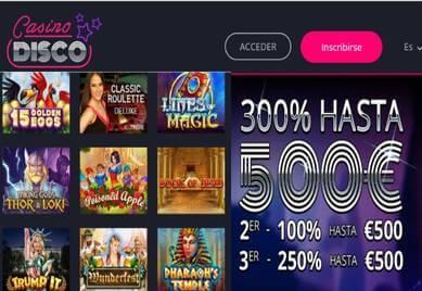 Gane 500 euros por el primer depósito en Casino Disco